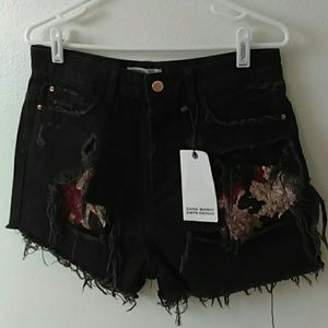 Sequin Distressed Shorts